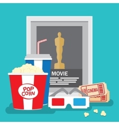 Set of movie design elements flat style vector
