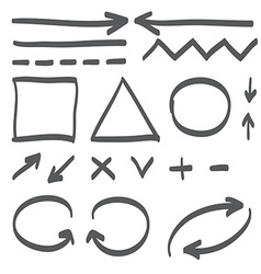 Hand drawn arrows set icon vector image