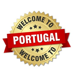 Portugal 3d gold badge with red ribbon vector