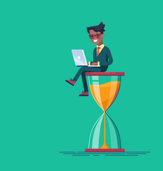 Black man sitting on the hourglass with laptop vector