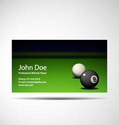 Business card professional billiards player vector