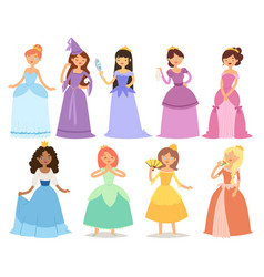 cartoon girl princess characters different fairy vector image