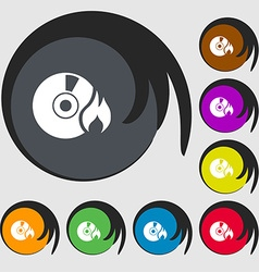 CD icon sign Symbols on eight colored buttons vector image vector image