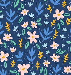 Colorful flowers on deep blue background seamless vector