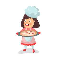 cute cartoon smiling little girl chef character vector image vector image