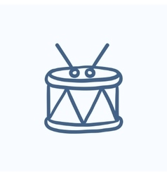 Drum with sticks sketch icon vector