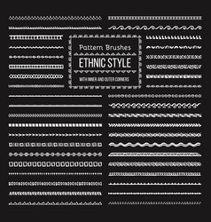 Ethnic style pattern brushes set vector