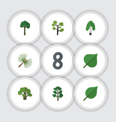 Flat icon ecology set of timber rosemary forest vector
