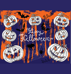 halloween background with scary pumkin heads vector image vector image