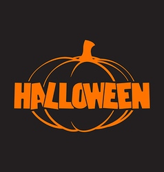 Halloween logo with pumpkins black background vector