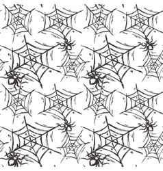 Halloween seamless pattern with hand drawn spiders vector image