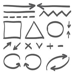 Hand drawn arrows set icon vector image
