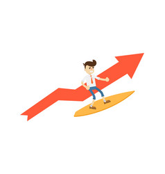 Happy businessman on surfboard icon vector