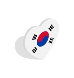 Heart with Korean flag icon isometric 3d style vector image