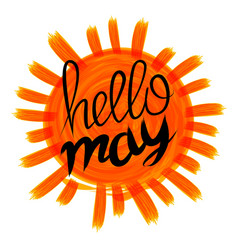 Hello may card with vintage sunburst and hand vector