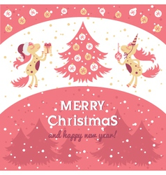 Horse card for new year and christmas vector