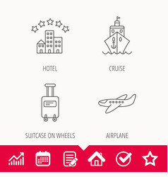 Hotel cruise ship and airplane icons vector