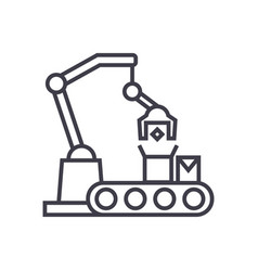 industrial robot sign line icon sign vector image
