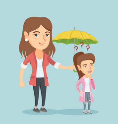 insurance agent holding umbrella over a woman vector image vector image