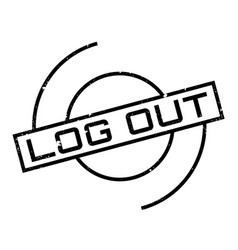 Log out rubber stamp vector