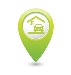 parking under roof icon map pointer green vector image vector image
