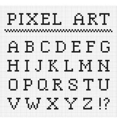 Pixel font set of pixel letters vector