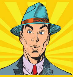 printavatar portrait surprised man in the hat vector image vector image