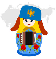 Russian nesting doll with accordion vector