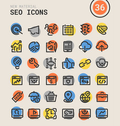 Seo bold linear icons vector