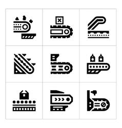 Set icons of conveyor vector
