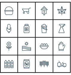 Set of 16 garden icons includes wheelbarrow vector