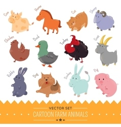 Set of cute cartoon farm animal icon vector image