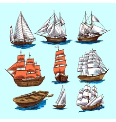 Ships and boats sketch set vector