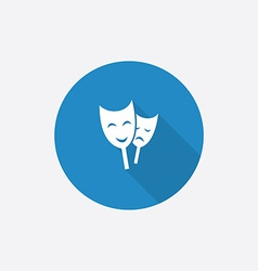 theater Flat Blue Simple Icon with long shadow vector image