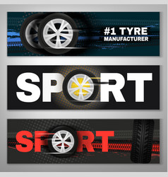 Tyre banner set vector
