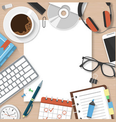 Workplace workspace concept with office supplies vector