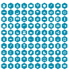 100 coffee cup icons sapphirine violet vector image vector image