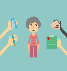 Medicine concept - a woman receives medication vector