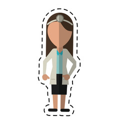 Cartoon doctor female with head mirror and coat vector