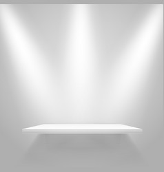white illuminated shelf on the wall mockup vector image