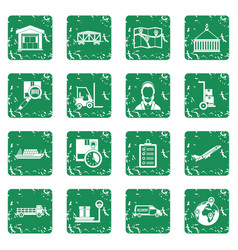 Logistic icons set grunge vector