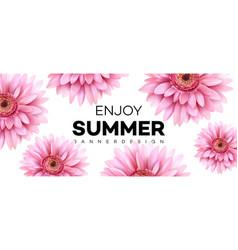 summer banner with gerbera flower vector image