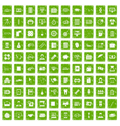 100 department icons set grunge green vector