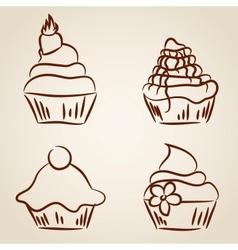 Cupcake sketches vector image
