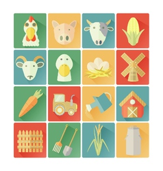 Flat icons farm vector