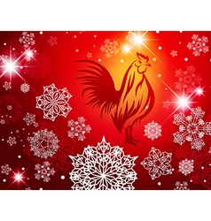 2017 New Year Christmas Red Fire Rooster vector image