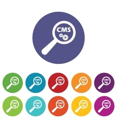 Cms search icon set vector
