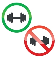 Barbell permission signs set vector