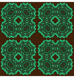 Green abstract lace flowers on the brown vector