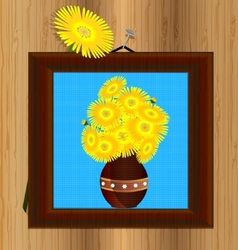 Frame and yellow flowers vector